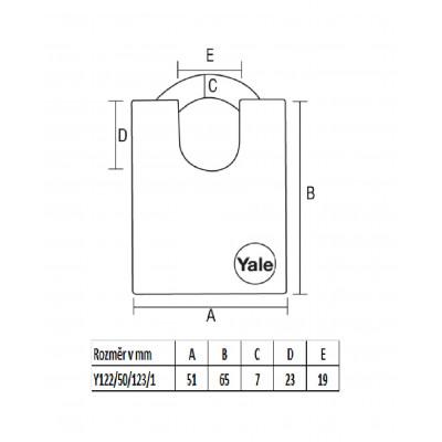 YALE Y122/50/123 bezpečnostný visiaci zámok