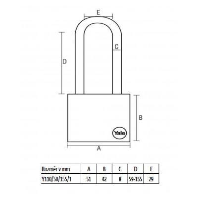 YALE Y110/50/155 L bezpečnostný visiaci zámok