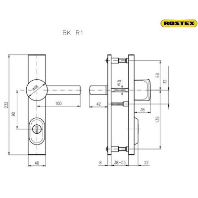 R4/90/O/Titan Zlatá bezpečnostné kovanie K+K