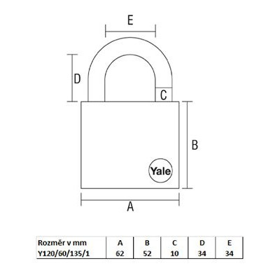 YALE Y120/60/135 bezpečnostný visiaci zámok