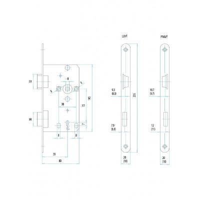 FAB 190/140/20 L 72/55/80 na kľúč  zámok zadlabávací